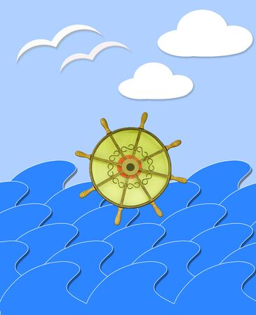 mew: illustration of marine waves with steering-wheel mews and white clouds
