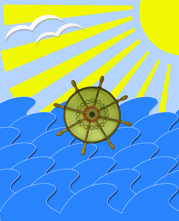 mew: illustration of marine waves with steering-wheel mews and sun beams