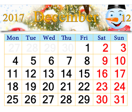 improbable: beautiful calendar for December 2017 with horizontal ribbon of picture of New Year tree and fabulous snowman