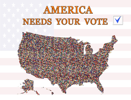 appeal to vote on presidential election America needs Your vote with map of USA Stock Photo