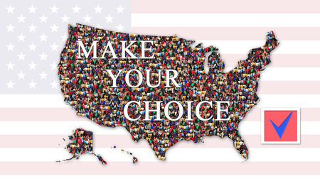 appeal to make choice on presidential election 2016 in USA. Material for election campaign with map of USA