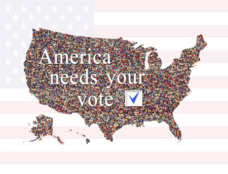 inscription America needs Your vote before presidential election 2016 with map of USA