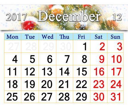 newyear: beautiful calendar for December 2017 with the ribbon of New-Year tree. Beautiful reminder for December 2017