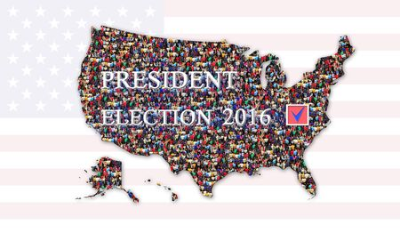 message about presidential election 2016 with map of USA and flag