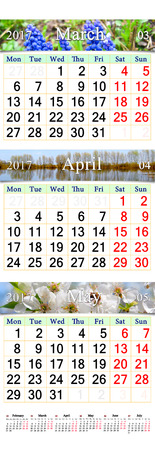 next year: wall calendar for three months of spring March April and May 2017 with pictures of nature
