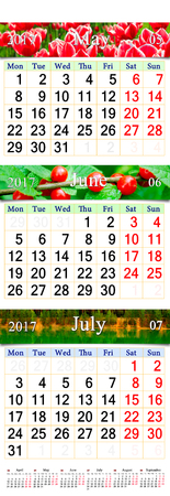 wall calendar for three months of spring May June and July 2017 with pictures of nature. Calendars for mass printing and using as wall calendars in office life