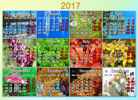 calendar for 2017 in English with photo of nature for every month