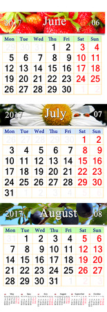 next year: office calendar for three months June July and August 2017 with pictures of strawberry chamomile and ripe fruits of plums