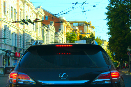 lexus auto: view of the back of the car Lexus while driving in Kharkov Editorial