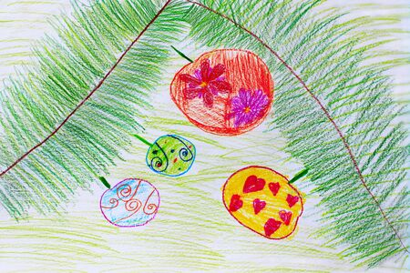 newyear: childish drawing of green branches of fir-tree with round Christmas-tree decorations