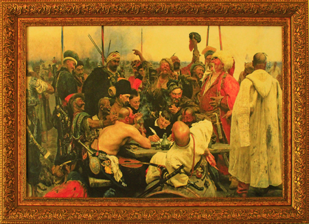 cossacks: picture Zaporozhian Cossacks of Ukraine Writing a Letter in Reply to the Sultan of Turkey