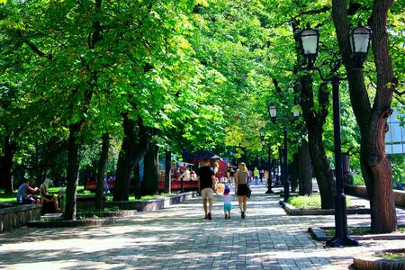 people walk on the wide footpath in the park with big green trees Editorial