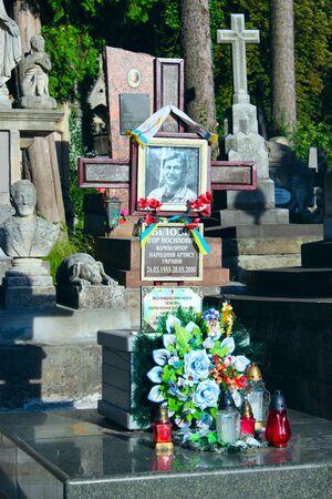 igor: grave of famous Ukrainian composer and Igor Bilozir on Lychakiv Cemetery in Lviv Editorial