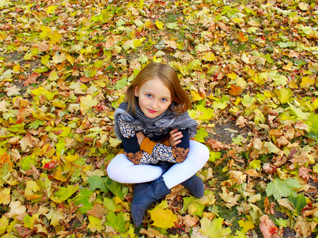 girl sits on the yellow leaves in the Autumn park