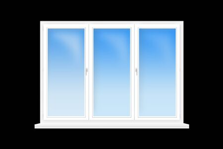 three leaved: three-leaved window isolated on the black