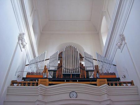 silvery: silvery fine organ in catholic church in Zhitomir Editorial