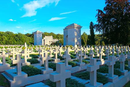 Lviv - circa August 2013  Ukraine: graves of the Polish warriors on Lychakiv Cemetery in Lviv Ukraine. circa August 2013 in Lviv, Ukraine.