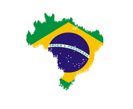 map of Brazil with national flag isolated on the white