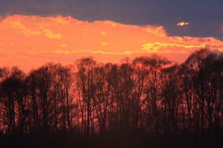 dark sunset with crimson clouds