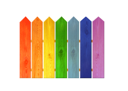 Multicolored wooden fence from colors of rainbow isolated
