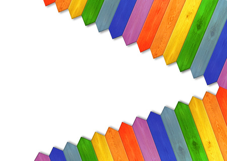 multicolored fence isolated on the white background. Multicolored wooden fence from colors of rainbow. Wooden pattern in the corners. Empty place for text