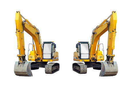 two excavators isolated on the white background