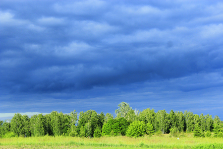 landscape with dark rainy clouds under the forest and meadow Stock Photo