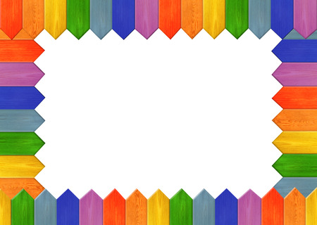 Multicolored wooden frame with white empty centre