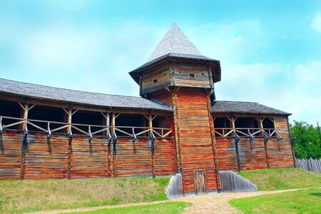Baturyn Citadel the Cossack Hetmanate. Ancient Slavonic architecture of Baturyn fortress in hetman capital