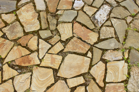 old roadway laid out from different stones