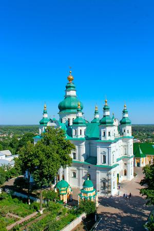 high bell tower of Troitskyi monastery in Chernihiv