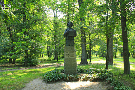 The monument to Petro Prokopovych the founder of commercial beekeeping in Baturyn. Among his most important inventions was a hive frame in a separate honey chamber of his beehive