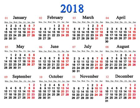 calendar for 2018 on the white background