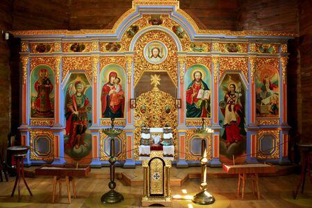 inside wooden Voskresenska church in Baturin in Ukraine