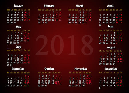 calendar for 2018 on the claret gradient background. Calendar for the next year