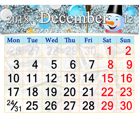 Beautiful calendar for December 2018 with horizontal ribbon of picture of New Year tree and fabulous snowman
