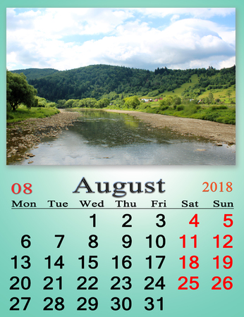Calendar for August 2018 with image of summer landscape with mountain river