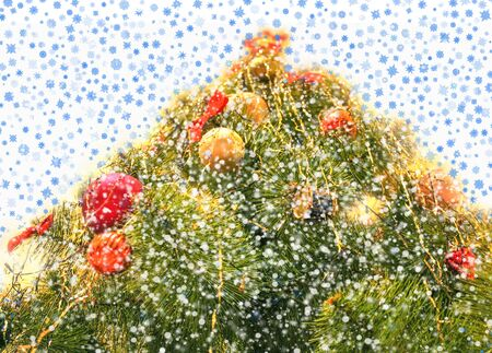 harmonous fur-tree with falling snowflakes from above
