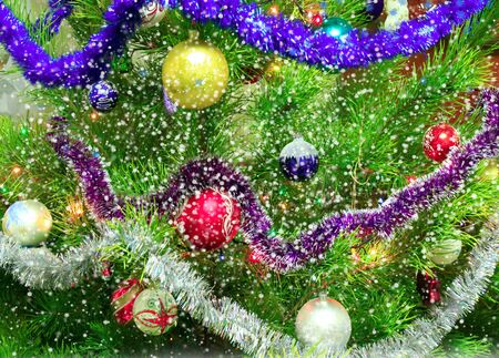 harmonous New Year tree with falling snowflakes from above Stock Photo