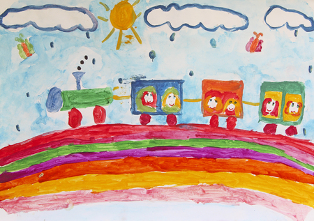 Childs drawing of merry train traveling along rainbow in rain. Funny drawing of child. Childrens art. Train painted by child. Colored and bright child drawing. Childrens holidays 스톡 콘텐츠