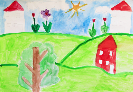 Childs drawing of houses meadow and flowers. Bright colors of summer. Childish art. Artwork drawn by watercolors. Childrens drawing watercolor paints on paper