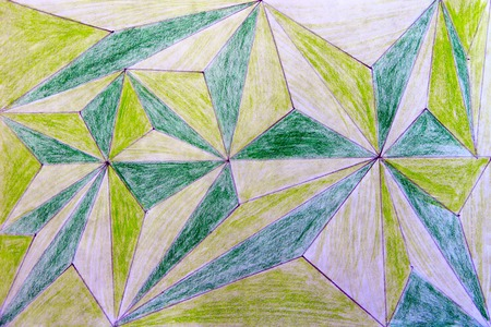 Childrens abstract drawing drawn in pencil from geometric figures of green and light green color. Drawn abstraction. Abstraction in geometry Stock Photo