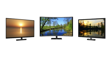 Television monitors isolated on white background. Full HD TV. LCD Television. TV monitors showing images of nature. 4k monitor isolated on white. Flat high definition TV with images. Modern TV set Stock Photo