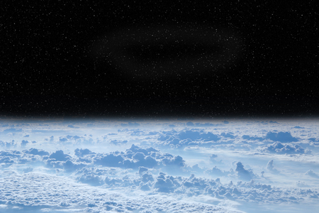 Black space above clouds of Earth. Cosmic landscape. Beautiful space landscape with open cosmos and clouds. Earth atmosphere view from above