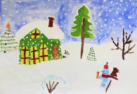 Christmas childish drawing of fabulous snowman and house. Children amusing drawing of house standing on snowy hills snowman and snowfall. Winter drawing of child