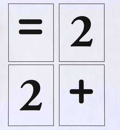 Mathematical signs are plus and number 2. Mathematic equation two plus two. Back to school concept. Equal for school. Signs of equality and plus. Equals sign and cipher two Imagens