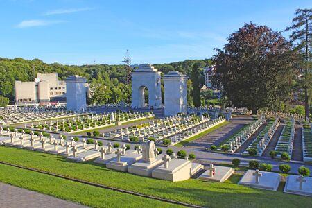 graves of Polish warriors on Lychakiv Cemetery in Lviv Ukraine. Histiric place in Lviv with grave of Polish warriors. Memorial to killed soldiers Редакционное