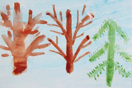 Childrens drawing with brown trees and New Year tree on blueish background. Childish drawing. Childish drawing with tree. Autumn by eyes of children. Childish art