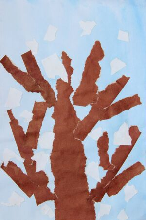 Childrens drawing with brown tree on blueish background. Childish drawing. Childish drawing with tree. Autumn by eyes of children. Childish art 스톡 콘텐츠