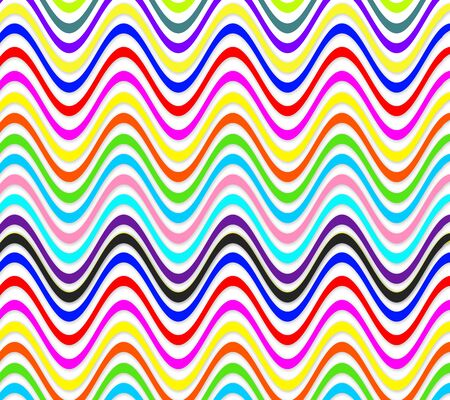 Colorful abstraction from waves of all colors of rainbow. Abstract waves of different colors. Color waves with white gaps. Illustration with color abstractions on white background